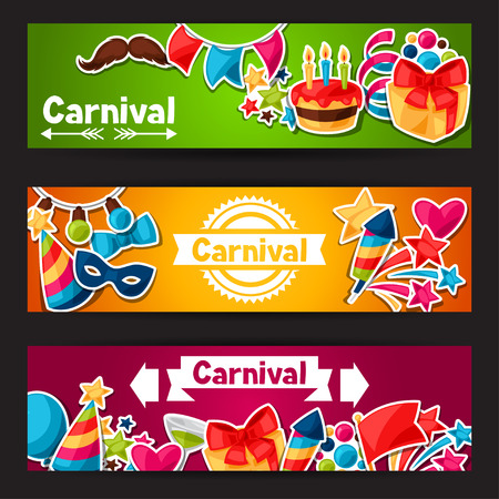 garlands: Carnival show and party banners with celebration stickers.