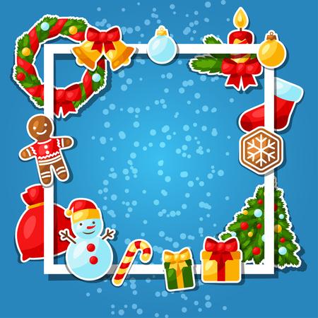 motivos navideños: Feliz Navidad y Feliz Año Nuevo Plantilla de la pegatina de la tarjeta de invitación. Vectores