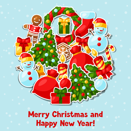 christmas winter: Merry Christmas and Happy New Year sticker invitation card.