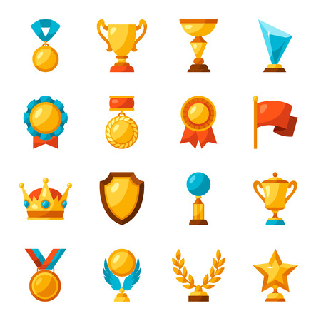 Sport or business trophy award icons set. Çizim