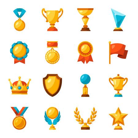 Sport or business trophy award icons set. Illustration