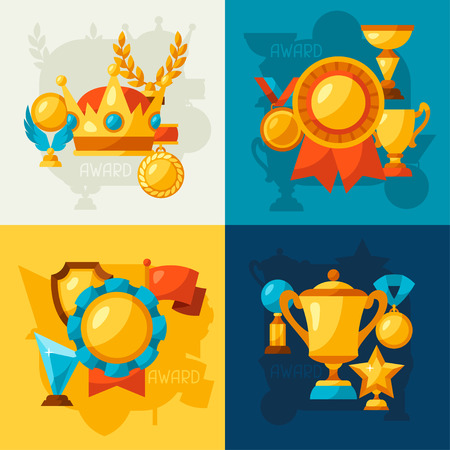 achievement concept: Sport or business backgrounds with award icons.