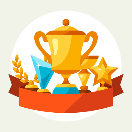 Sport or business background with award and trophy. Illustration