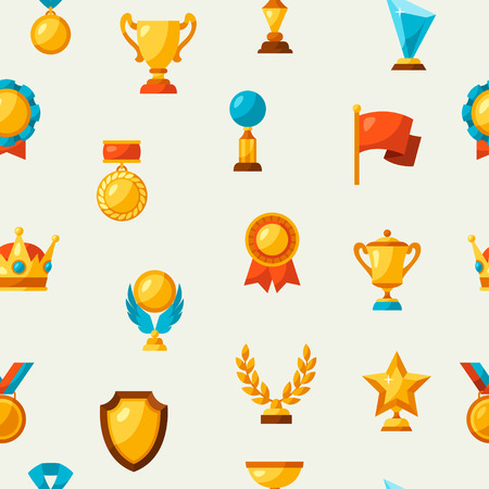 success: Sport or business seamless pattern with award icons. Illustration