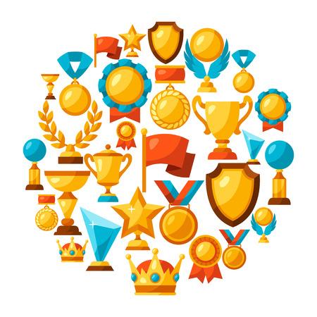 �illustration: Deporte o negocio de fondo con los iconos de premio.