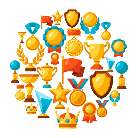 illustration and: Sport or business background with award icons.