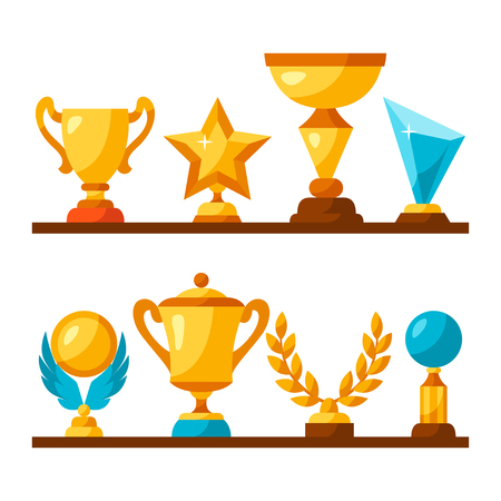 competitive sport: Sport or business trophy award icons set on shelves. Illustration