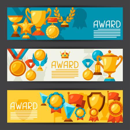 premios: Deportivas o de negocios con los iconos banderas de adjudicación.