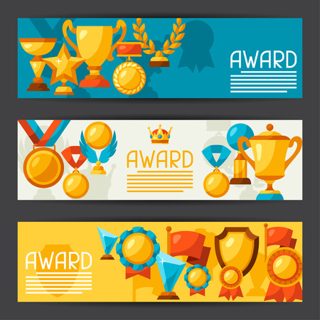 awards: Sport or business banners with award icons.