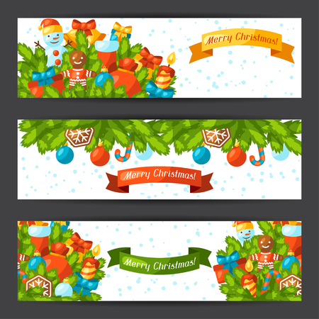 christmas sock: Merry Christmas holiday banners  with celebration object.