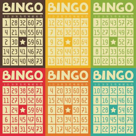 bingo: Conjunto de bingo o lotería tarjetas de retro para el juego.