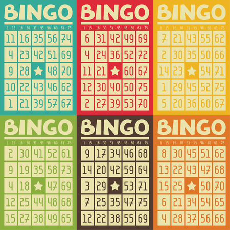 vintage card: Set of retro  bingo or lottery cards for game.