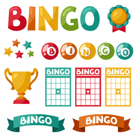 Set of bingo or lottery game balls and cards. Vectores
