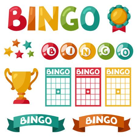 symbol sport: Set von Bingo oder Lotteriespiel B�lle und Karten.