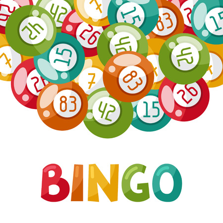 Bingo or lottery game illustration with balls.