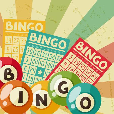 賓果或彩票復古的遊戲插圖球和卡。 向量圖像