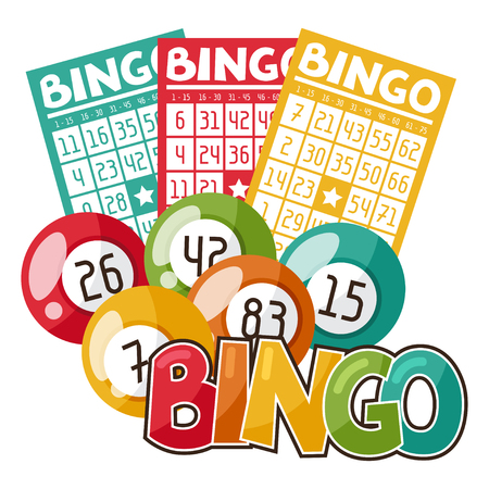 Bingo or lottery game illustration with balls and cards.