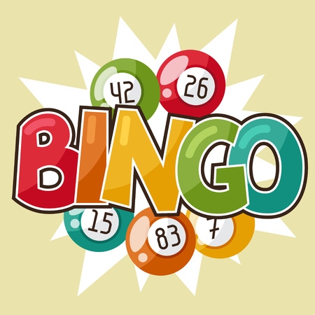 Bingo or lottery retro game illustration with balls.