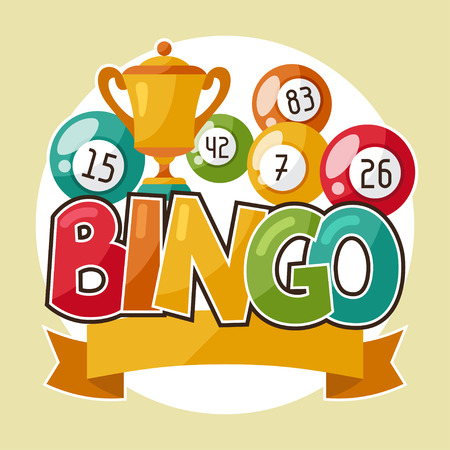 bingo: Bingo o lotería de juego retro ilustración con las bolas y los premios.
