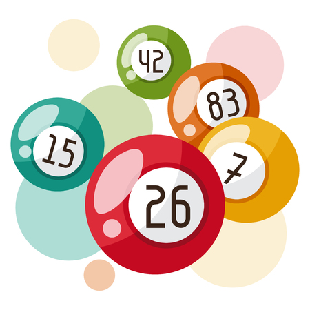 betting: Bingo or lottery game illustration with balls.