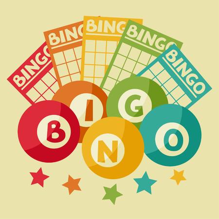 pelota: Bingo o loter�a de juego retro ilustraci�n con bolas y tarjetas.