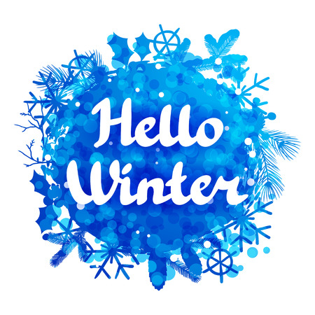 snow background: Hello winter abstract background design with snowflakes and snow.
