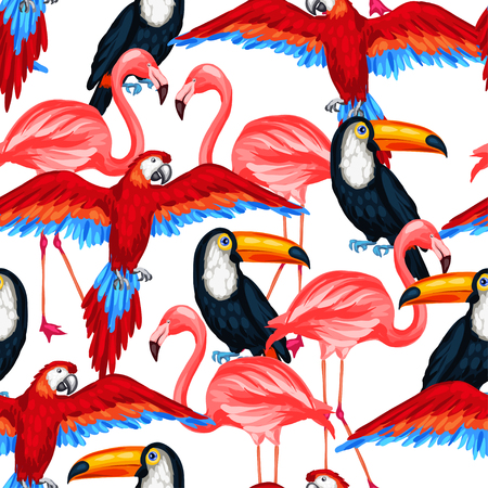 subtropics: Tropical birds seamless pattern with parrots toucans and flamingos.
