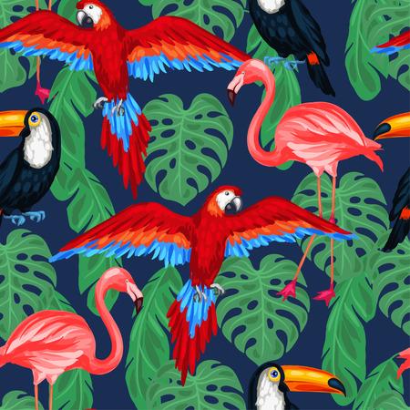 animales del bosque: Pájaros tropicales patrón transparente con hojas de palma.