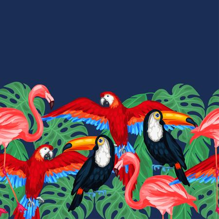 selva: Pájaros tropicales patrón transparente con hojas de palma.