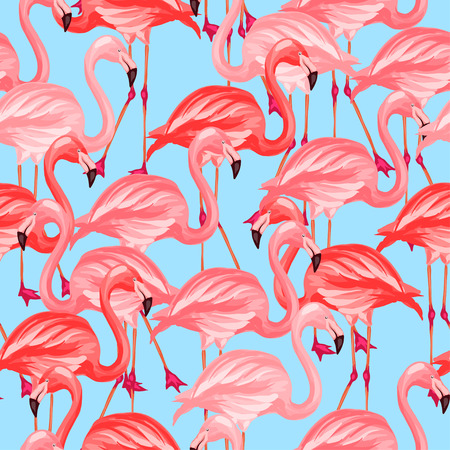 Tropical birds seamless pattern with pink flamingos. Çizim