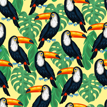 Tropical birds seamless pattern with toucans and palm leaves. Stock Illustratie
