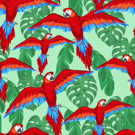 birds of paradise: Tropical birds seamless pattern with parrots and palm leaves.