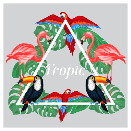 tropical bird: Tropical birds print design with palm leaves.