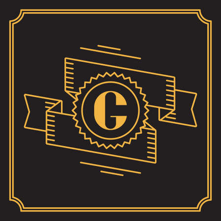graceful: Simple and graceful monogram design in line art style.