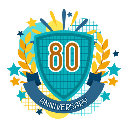 80 years: Anniversary abstract background with ribbon and decorative elements.