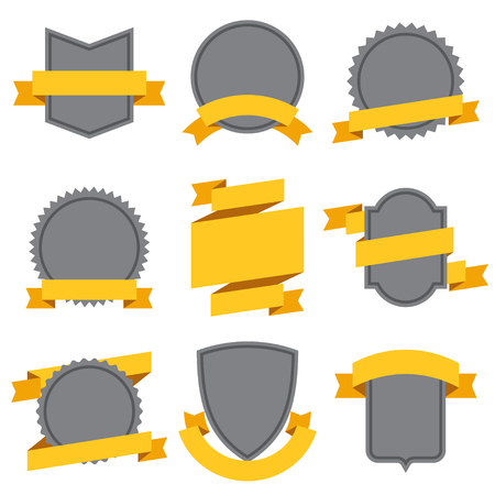 blank banner: Set of decorative ribbons and banners in flat style.
