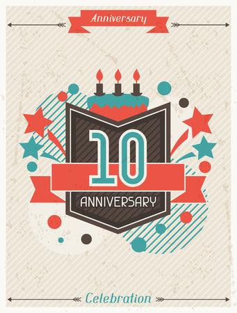 aniversario: Aniversario de fondo abstracto con la cinta y elementos decorativos.