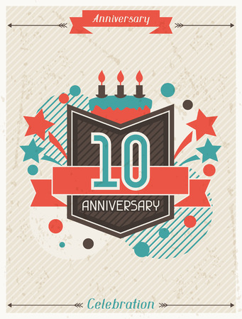 number card: Anniversary abstract background with ribbon and decorative elements.
