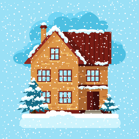 residential home: Winter card design with house and trees.