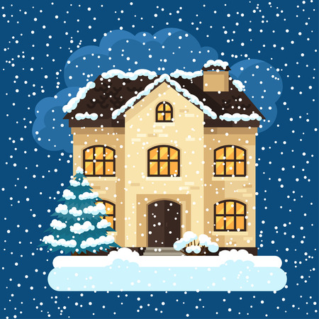 christmas winter: Winter card design with house and trees.