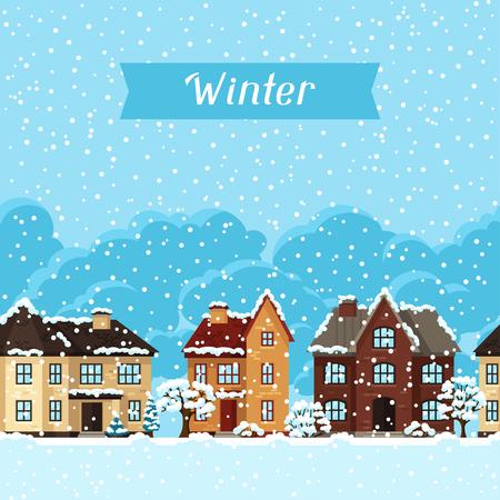 Fachada: Tarjeta del invierno paisaje urbano con casas y árboles.