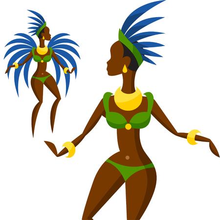 showgirl: Illustration of brazilian carnival girl dansing samba. Illustration