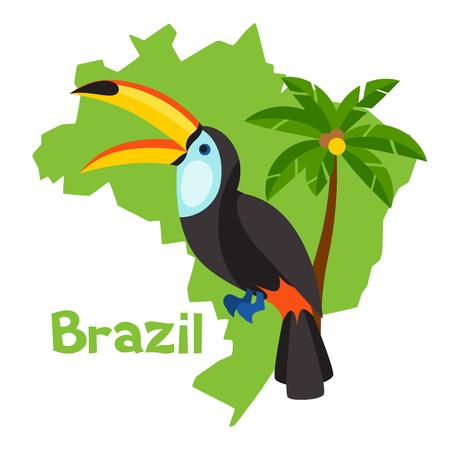 mappa stilizzata del Brasile con albero di tucano e palme.