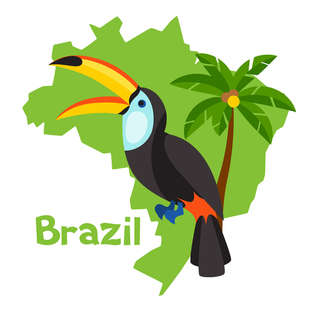 brazil country: Stylized map of Brazil with toucan and palm tree.