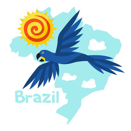macaw: Stylized map of Brazil with sun and macaw parrot.