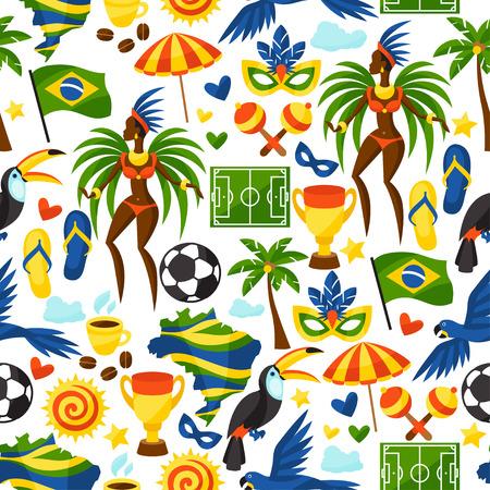 Brasilien nahtlose Muster mit stilisierten Objekte und kulturelle Symbole. Illustration