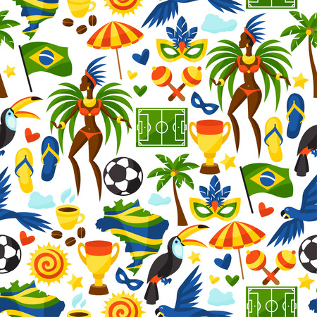 Brazil seamless pattern with stylized objects and cultural symbols.