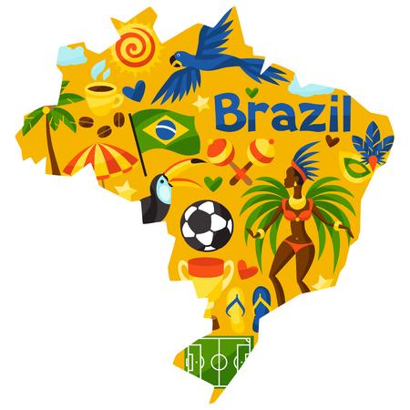 Brazilië kaart met gestileerde voorwerpen en culturele symbolen. Stock Illustratie