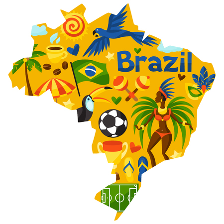 Brazil map with stylized objects and cultural symbols. Illustration