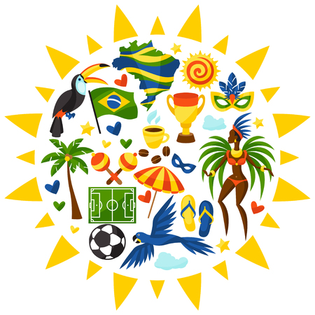 beach: Brazil background with stylized objects and cultural symbols.
